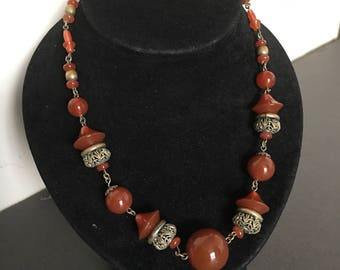Art Deco Amber and Gold Colour Bead Necklace Vintage