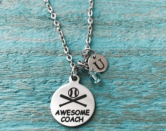 Awesome coach, Coach, baseball, softball, Silver Necklace, Baseball Necklace, Baseball Gifts, Baseball coach, Charm Necklace, Gift for