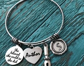 Author, gift for writer, She believed she, could so she did Writing, Silver Bracelet, Stainless Steel, Charm Bracelet, Keepsake, Gifts for,