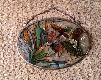 Vintage AMIA Hummingbird Sun Catcher - Hand Painted Glass Oval Picture of Hummingbird & Flowers -  Springtime, Easter Decor - Mothers Day