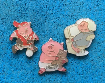 Vintage Pig Pins: Funny Characters. Baby, Football, Soccer, Silver Surfer, Computer