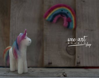 Rainbow Needle Felted Set / Rainbow and Rainbow Unicorn  /  Newborn Photography Prop / Needle Felted