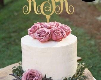 Elegant Monogram Wedding Cake Topper, Personalized Cake Toppers, Initials Wedding Cake Topper, Gold Monogram Cake Topper, CT-040
