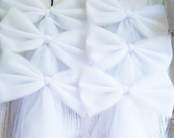 White Tulle Pew Bow, Church Aisle Decor, Wedding Pew Bow,  Bridal Shower Decor,Tulle Pew Bow,Church Pew Decor,Tulle Wedding Decor,Chair Bows