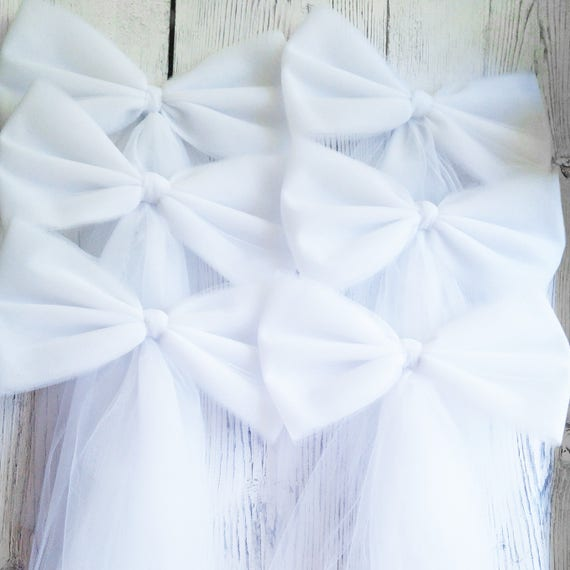 White tulle pew bow church aisle decor wedding pew bow bridal il570xn junglespirit Image collections