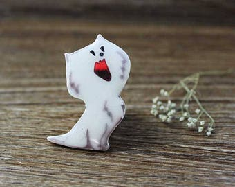 White cat jewelry cat brooch cat pin miniature animals cute jewelry animal gifts|for|kids cat gifts|for|friends gift ideas|for|her  pet gift