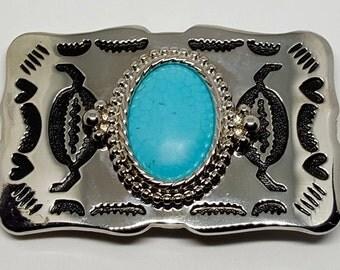 Vintage Southwest Turquoise Belt Buckle
