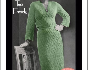 1930's Afternoon Tea Frock Knitting Pattern - Instant Download - PDF