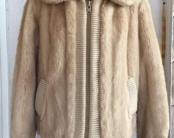 Vintage 1970's Beige Faux Fur Jacket By Adolph Schuman For Lilli Ann Womens Medium