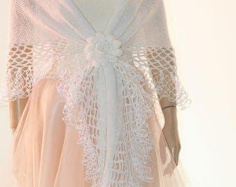 White Wedding Shawl Bridal Stole Hand Knit