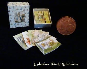 Miniature Peter Rabbit Cube Puzzle - Artisan Handmade Miniature 1:12 scale