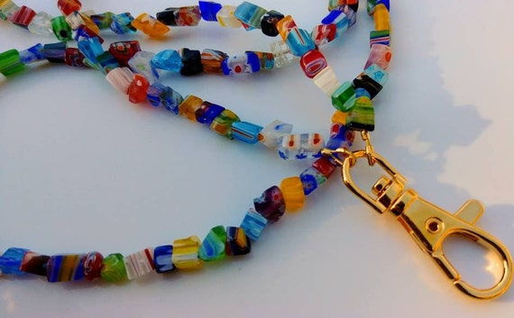 Coworker Gift, Colorful Millefiori Id Badge Lanyard, Work Id Badge Holder, Beaded Lanyard