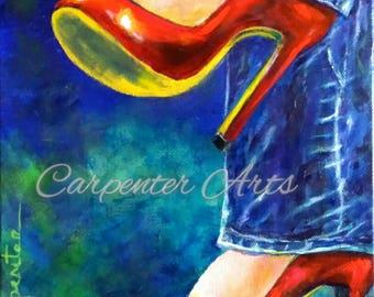 Shoe Art Painting Red Shoes Jeans