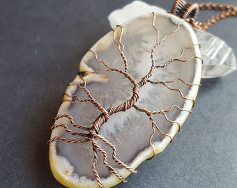 Large Copper Tree of Life Necklace, Copper Tree of Life Pendant, Agate Slice, Agate Tree Necklace, Wire Tree Pendant, Wired Tree Necklace