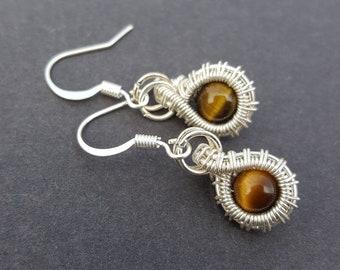 Sterling Silver Wire Wrapped Gemstone Earrings, Tigers Eye Earrings Silver, Brown Earrings, Wire Wrapped Earrings, Earthy Earrings, Wired
