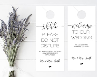 wedding door hanger template. Wedding Door Hanger Template, Please Do Not Disturb Hanger, Itinerary, Rustic Template B