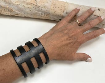 Wide Black Leather Cutout Cuff with Magnetic Silver Tone Clasp,Statement Leather Cuff, Extra Wide Leather,Black and Silver,Minimalist Modern