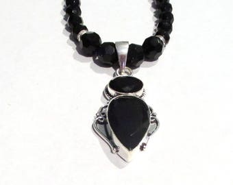 Black Onyx Necklace, Sterling Silver Black Onyx Pendant and Black Glass Bead Necklace