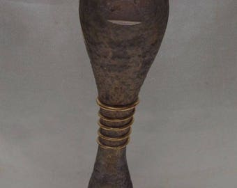 Unique & Artistic Vintage African Woman Shaped Vase w. Black Wood Carved Stand