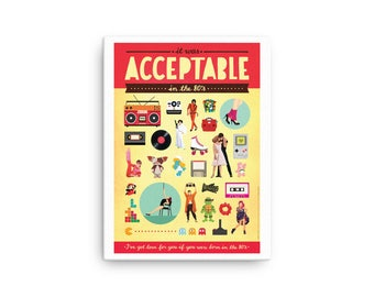 CANVAS Acceptable in the 80s Typography Lyrics Poster, Pop Art, Pop Culture Gift, Song Illustration, Eighties Fun Music Print, 80s Nostalgia