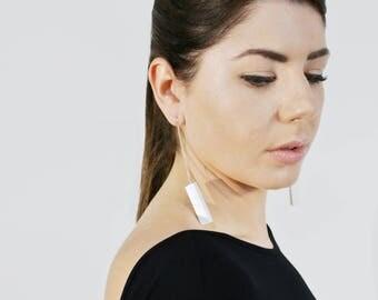 White Tube - long earrings