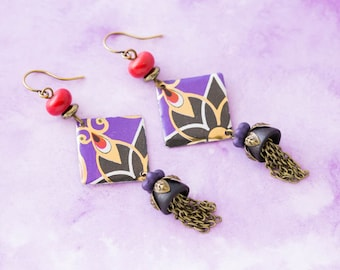 Gold, Purple and Red Art Deco Vintage Tin Earrings with Vintage Wood Bead Caps and Chain Tassels, Art Deco Jewelry