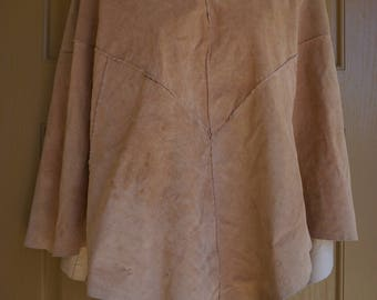 Suede leather cape jacket small womens 1960s 1970s