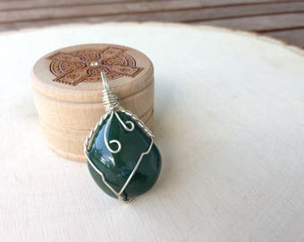 Agate Moss Pendant Reiki Charged #1