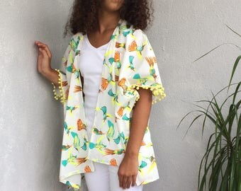 Hummingbird Kimono, Boho Kimono Cardigan, Neon Bird Jacket, Oversize Beachwear, Cotton Kimono, Pompom Kimono, Beach Coverup