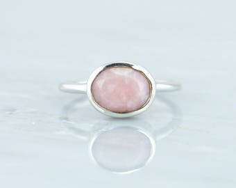 October Birthstone Ring, Pink Opal Ring, Opal Jewelry, Raw Stone Jewelry, Sterling Silver Ring, Oval Ring, Gemstone Ring, Stackable Ring