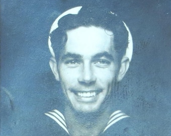 The Golden Smile - Awesome 1940's Handsome Sailor Boy Flashing His Smile Photo Booth Photo