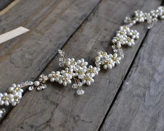 Bridal Boho Halo , Wired Vine, Headband, Tiara with  Rhinestones Crystal, Glass Beads and Faux Pearls