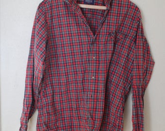 vintage red plaid button up shirt