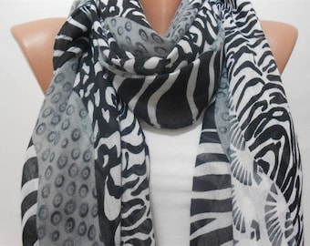 CHRISTMAS Gift For Her Leopard Scarf Animal Print Scarf Zebra Scarf Black White Scarf Shawl  Winter Scarf Fashion Accessories Gift For Mom