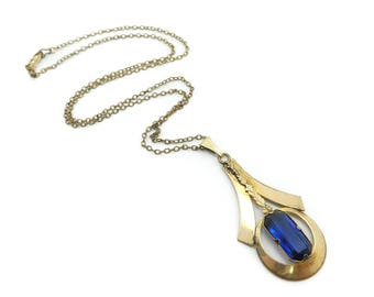 Vintage Lavaliere Necklace, Blue Faceted Glass, Gold Tone