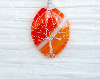 Tree of Life wire wrapped Orange Agate pendant Necklace