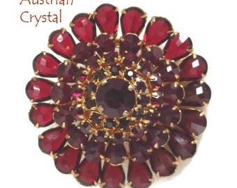 Red Austrian Crystal Brooch, Vintage Crystal Flower Pin, Gold Tone Austria Pin, Gift for Her, FREE SHIPPING