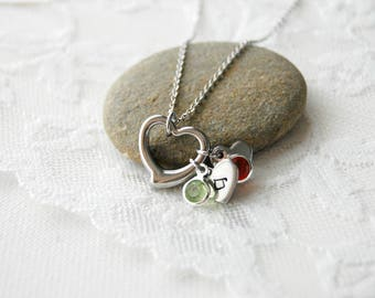 Birthstone Necklace Birthstone Jewelry New Mom Necklace Baby Shower Gift Personalized Necklace Heart Necklace Mothers Day Gift Mom Gifts