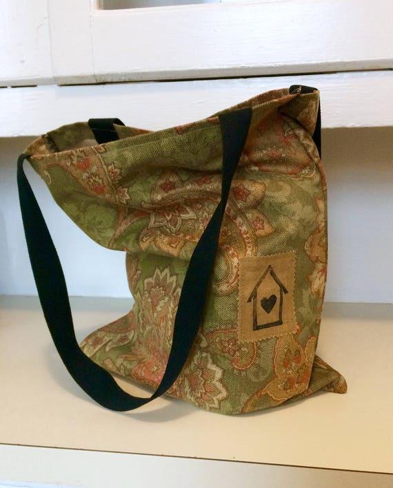 Simple Tote Bag, Paisley Suede
