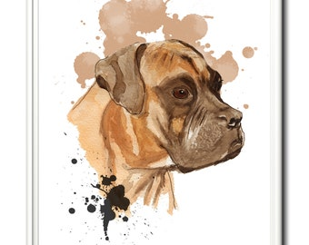 Boxer dog, wall art, home decor, limited edition dog print. From an original watercolour watercolor painting.   Art print, dog, dogs, boxer