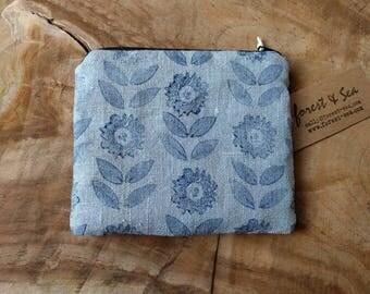 Block Print Zipper Pouch, hand printed linen pouch, indigo flowers on grey linen purse, hand block print dark blue flower pattern padded bag