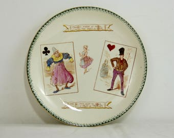 Antique CHOISY LE ROI faience talking dessert plate - humorous playing cards / clubs jack + hearts jack - French late 1800s vintage