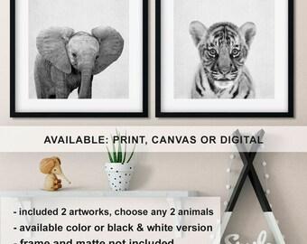 Baby animal prints nursery, Tiger cub print, Baby elephant nursery, Monochrome Nursery animal wall art, Safari animal prints Print/Canvas/Di