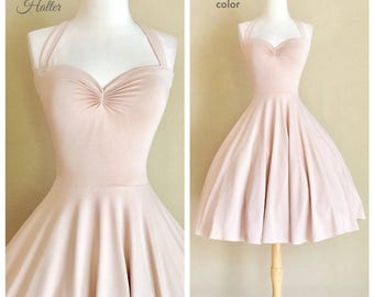 Neutral NUDE Bridesmaid Halter Dress, The Cherrybomb by Hardley Dangerous Couture