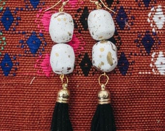 Gold Funky Tassel Dangling Boho Style Earrings