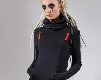 Black sweater turtleneck Cyberpunk sci fi pullover industrial shirt cyber long sleeves thumb holes - BU2 woman