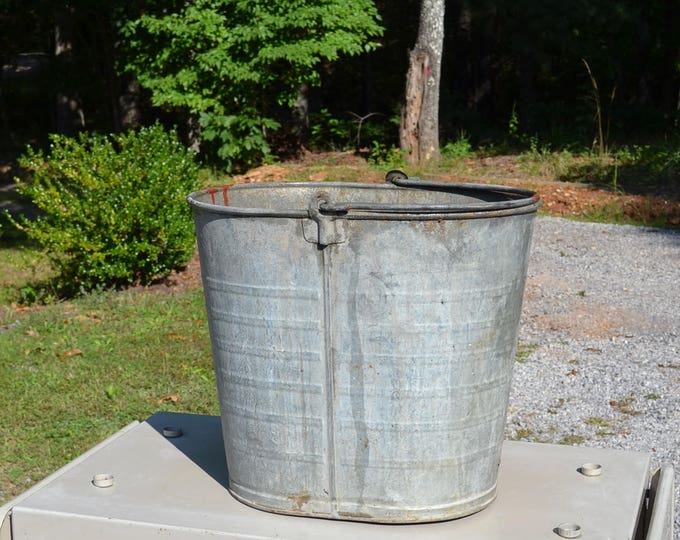 Vintage Galvanized Bucket Seaway Large Heavy Oval Container Ice Bucket Farmhouse Chic Outdoor Planter Pail PanchosPorch