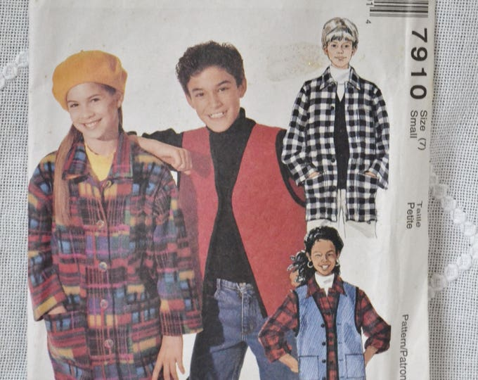 McCalls 7910 Sewing Pattern Boys Girls Shirt Jacket Vest Size 7 DIY Fashion Sewing Crafts PanchosPorch