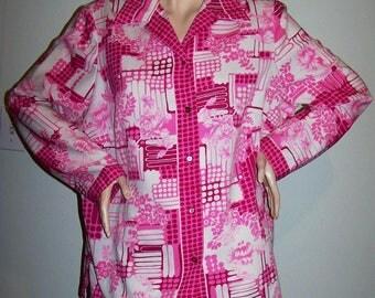 Vintage 1980's Mr ALEX (COLEMAN) BLOUSE Sz X-L Button-Front Shirt Hot-Pink Geometric Poly-Crepe Long-Sleeves