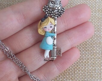 Alice in wonderland and white rabbit key necklace polymer clay creations